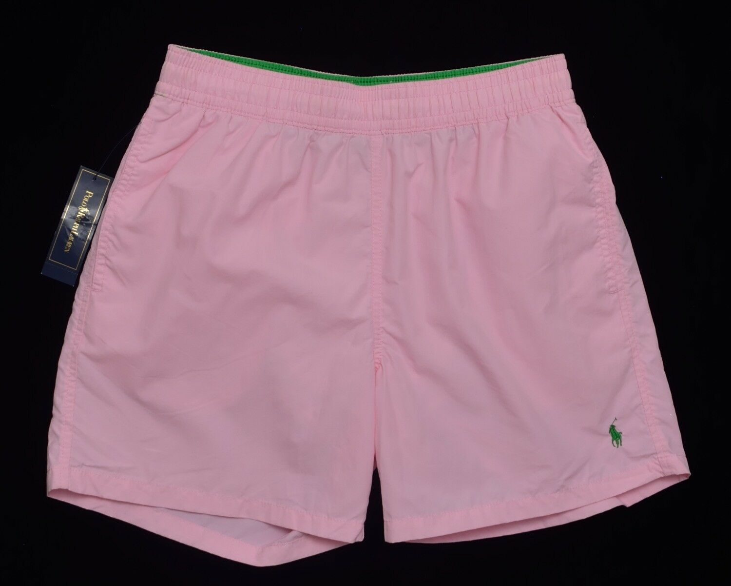Men's POLO RALPH LAUREN Pink Swimsuit Trunks L Large NWT NEW Green Pony Nice