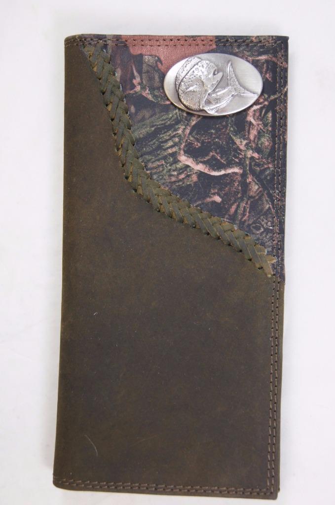 ZEP-PRO DOLPHIN MAHI MAHI Leather Fence Row Camo WALLET ONLY NO BOX