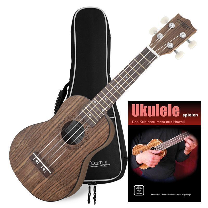 Ukulele Hawaiian Guitar Soprano Uke 4 Strings 12 Frets Set Gigbag Walnut Top