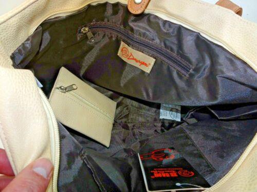 Details about  /Douguyan Shopping Tote Handbag Straps Zipper Hasp Beige Faux Leather NWT