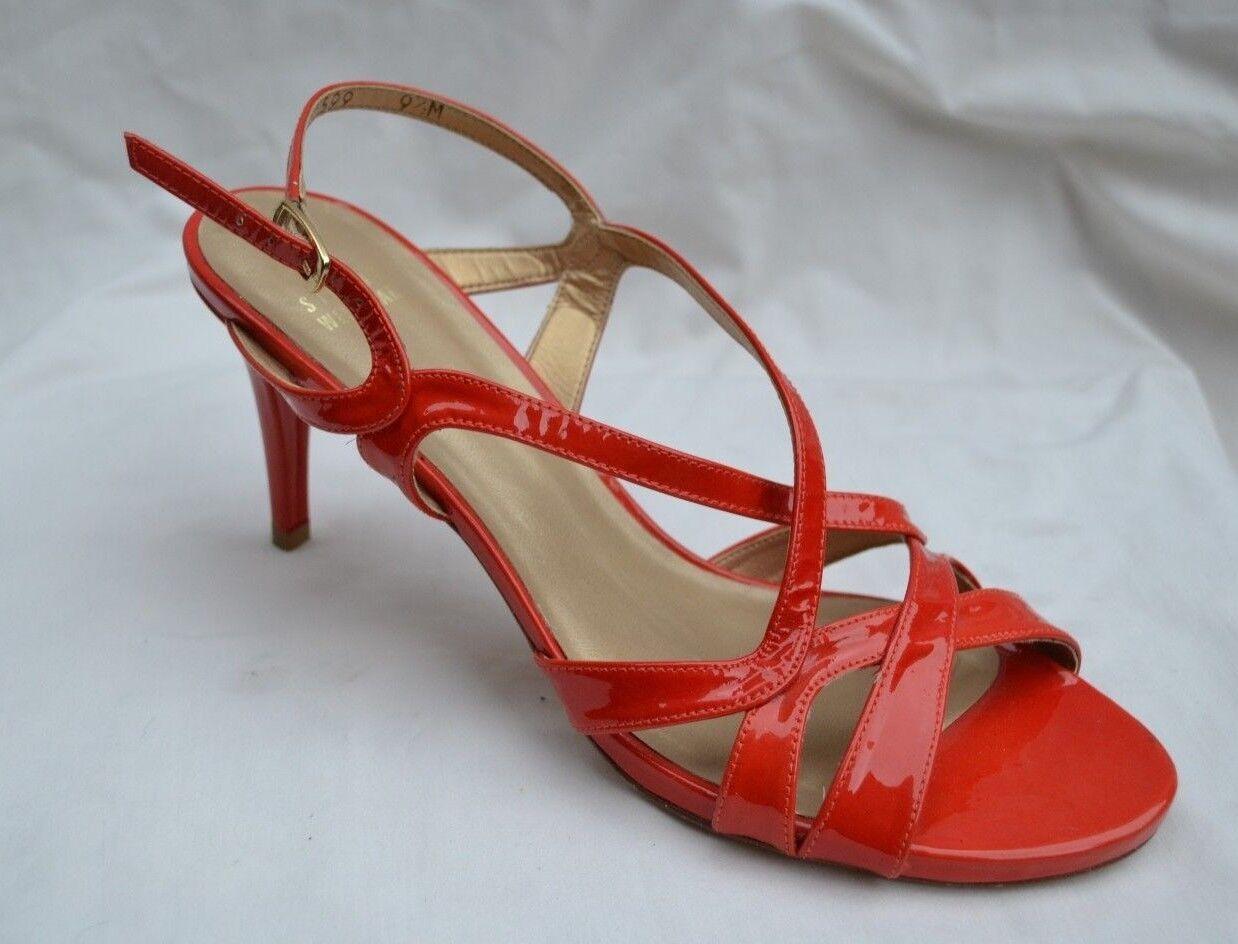 Stuart Weitzman Nuevo Auténtico  Mujeres Cuero Sandalias De Tiras patenet Rojo