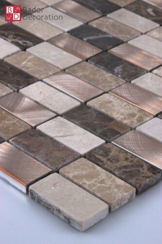 Marbrée Aluminium Mosaïque Mosaïque Carrelage 15x15cm Bronze Beige Clair-Marron foncé