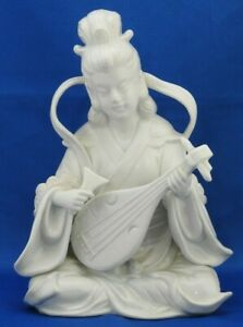Vintage Figurine Asian Oriental Girl Playing Musical Instrument White OMC Mexico