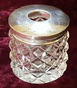 Sterling silver amp clear glass vintage Victorian antique dressing jar  box - Louth, United Kingdom - Sterling silver amp clear glass vintage Victorian antique dressing jar  box - Louth, United Kingdom