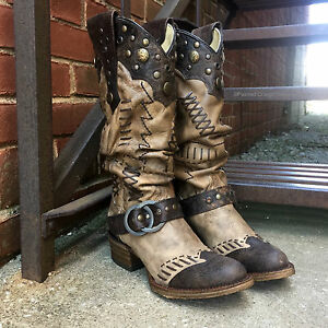 Women's Studded Slouch Cowgirl Boot Round Toe - A3141