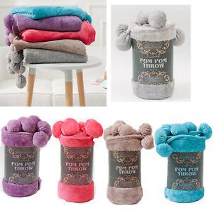 Reversible-Pom-Pom-Knitted-Throw-Crochet-Blanket-Cotton-Rug-Bed-Sofa-Home-Decor