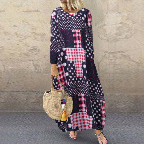 UK Womens Long Sleeve Floral Maxi Party Dress Casual Kaftan Beach A-Line Dresses