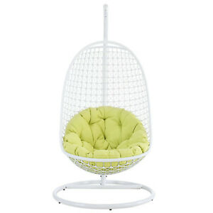 Pleasing Details About White Egg Wire Swing Patio Chair Green Cushion All Weather White Metal Frame Theyellowbook Wood Chair Design Ideas Theyellowbookinfo