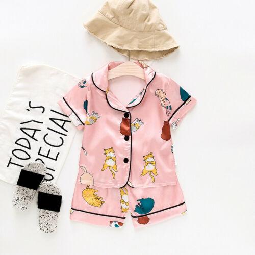 Toddler Kids Baby Boys Girl Cartoon Pajamas Sleepwear T shirt Shorts Clothes Set