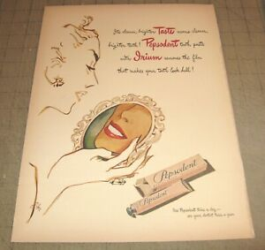 """1946 PEPSODENT TOOTH PASTE 10.5"""" x 14"""" Life Magazine 1-Page Ad Great Graphic Art"""