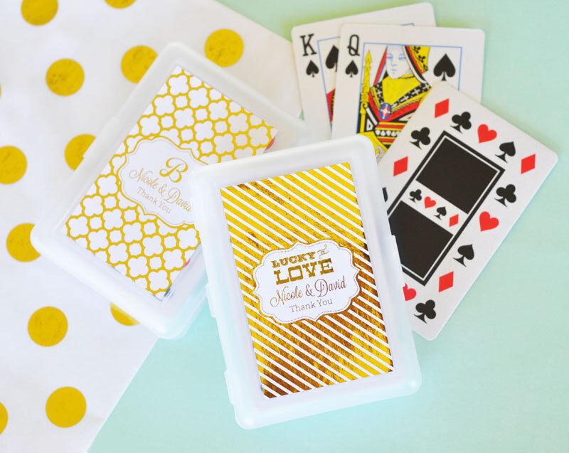 50 Personnalisé or ou d'argent cartes à jouer Anniversaire Mariage Faveur