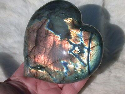 "4.4"" LABRADORITE HEART LARGE POLISHED SPECTROLITE STONE PAPERWEIGHT 1.5#"