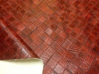 Faux Leather by the Metre Reptile Embossing Snake Cherry Red 1A Quality 150cm