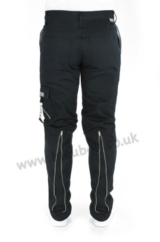 Bleubolt Nero Punk Rock Goth BONDAGE ZIP pants pantaloni