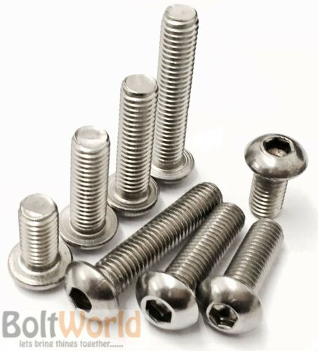cabeza cúpula Allen Tornillo Pernos ISO 7380 M4 4mm A2 Acero Inoxidable Socket botón