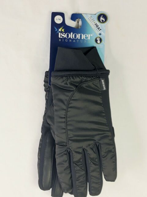 Isotoner Signature Women Sleek Heat Touch Tec Gloves Black Sz L/XL #438M2 NWT