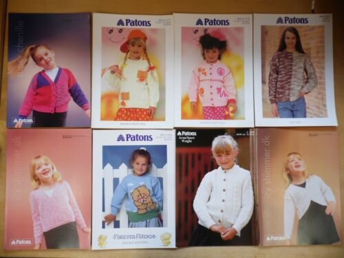 8 x Patons Girls Knitting Patterns Job Lot New Jumpers//Cardigans//Bolero