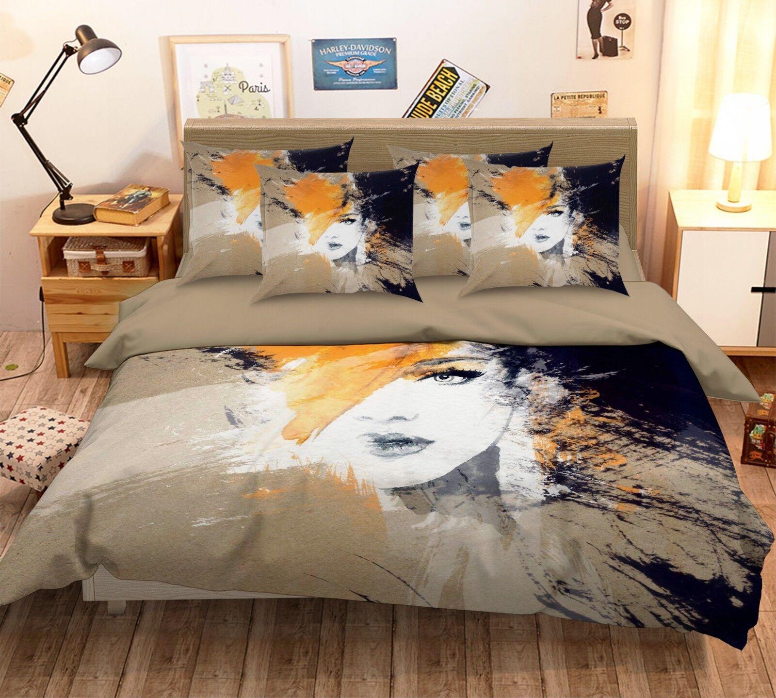 3D Paint Woman Face 226 Bed Pillowcases Quilt Duvet Single Queen King US Summer