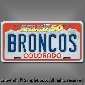Denver-BRONCOS-NFL-Super-Bowl-50-Champions-Football-License-Plate-Tag-New-Cool-3
