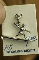 .925 Sterling Silver Surfer Surf Boarder San Francisco Hang Hippy 3d Charm twa