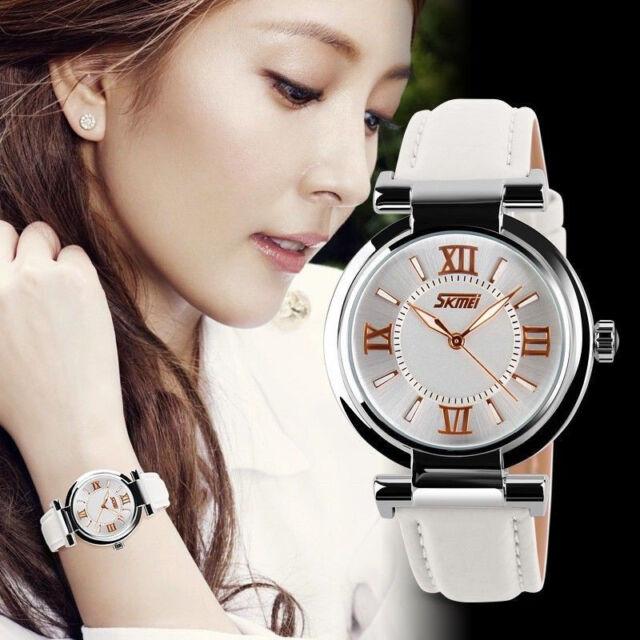 Fashion Women Round Steel Case Casual Leather Band Analog Quartz Wrist Watch 1PC