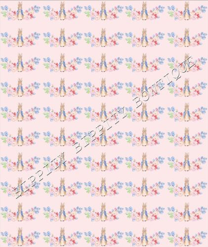 """/""""PETER RABBIT /& JEMIMA/""""  CANVAS PRINTED FABRIC SHEET.HAIR BOWS EXCLUSIVE"""