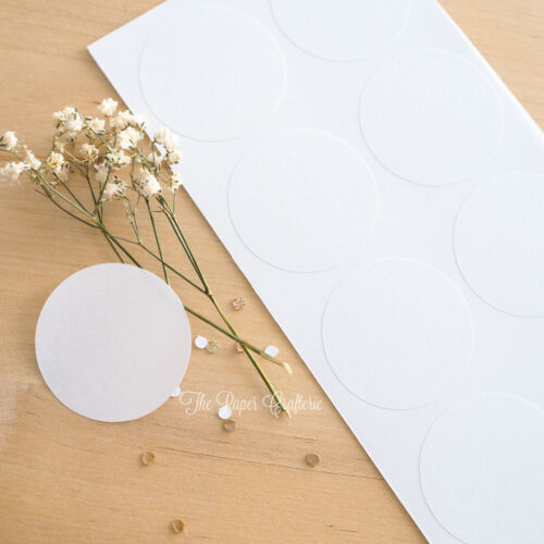 60 x WHITE ROUND STICKERS Blank Circle Jar Labels Seals Party Favours Bomboniere