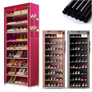 10-Schicht-Schuhschrank-Schuhablage-Schuhregal-Schuhstaender-Vliesstoff-4-Farben