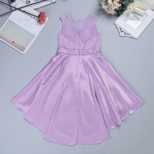 Flower Girls Dress Lace Chiffon Gown Party Princess Wedding Bridesmaid Formal