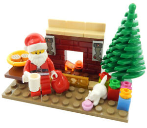 NEW-LEGO-SANTA-CLAUS-w-Christmas-Tree-Fireplace-Gifts-minifigure-minifig-visit