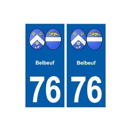 76 Belbeuf blason autocollant plaque stickers ville -  Angles : droits