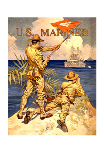 "US Marines Signaling 20x32/"" Military Recruiting Poster on Canvas"
