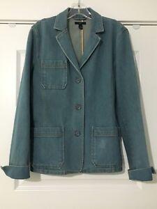 GAP-Women-039-s-Button-Front-Blue-Denim-Jean-Blazer-Jacket-Size-Large-L-MINT