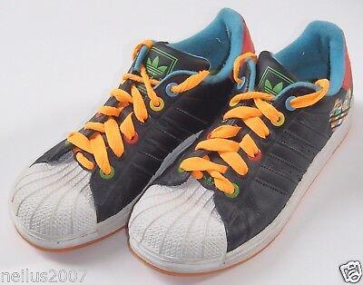 Adidas Black & Multicolour Trainers Shoes UK 4 Older Orange Laces Sole
