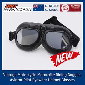 BLK Motorcycle Cruiser Open Face  Retro Harley style Half Helmet Vintage Goggles