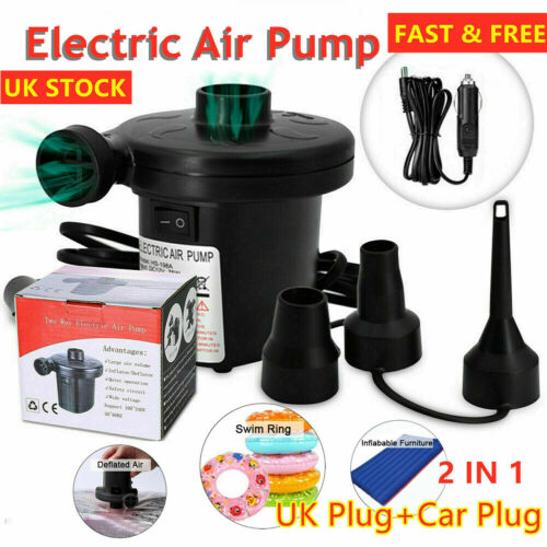 Electric Air Pump Inflator for Inflatables Camping Bed pool 220V Car home UK EDG