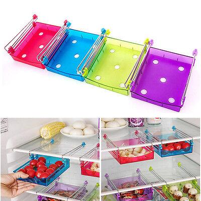 Slide Kitchen Fridge Freezer Space Saver Organizer Storage Rack Shelf Holder New