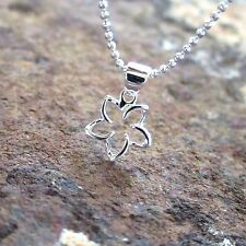10MM Small Floating Plumeria Flower Hawaiian 925 Silver Pendant Necklace SP48701