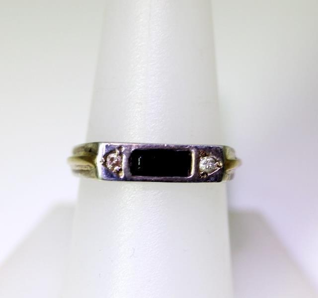 Vintage Sterling Silver .05TCW Diamond & Onyx Ban… - image 1