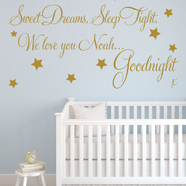 baby wall sticker quote - personalised sweet dreams boy child