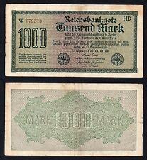 1000 mark Reichsbanknote Germany 1922 BB/VF  //