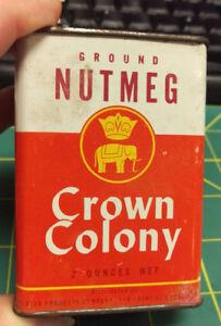Vintage Crown Colony Ground Nutmeg 2 oz Spice tin great ...
