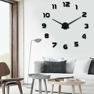 Modern arts large diy wall clock 3d stickers design home for Room decor 5d stickers