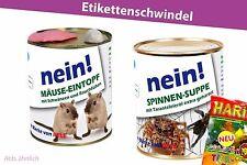2er Set - Konserve Überraschung Geschenkidee Dosen Blechdose Spinne Mäuse Gag