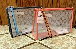 New-Coach-Beach-Clutch-In-Signature-Clear-Canvas-Pink-Lemonade-or-Midnight-99430