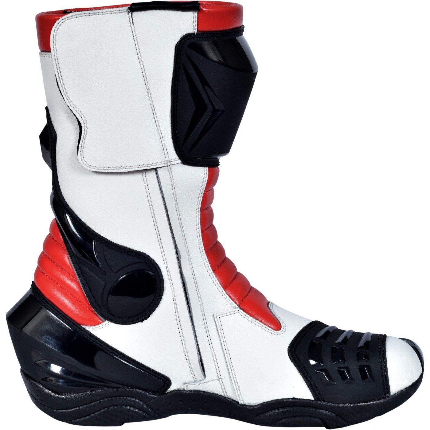 German wear, Biker Moto Stivali Moto Sport Touring Stivali Bianco Rosso 32cm