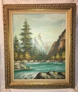 Mid-Century-Oil-on-Canvas-Fine-Art-Painting-Signed-W-Ho-Gold-Frame-Decorative