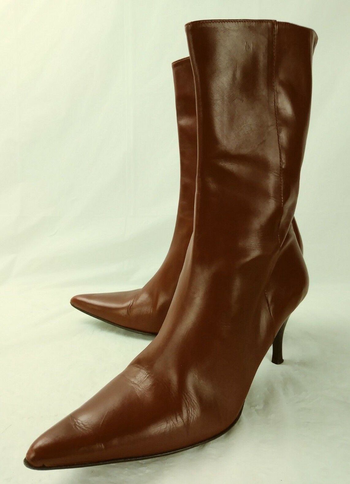 Cole Haan Wos Stiefel City D14261 US8B ROT Leder Zip Heels Pointy Toe  5468