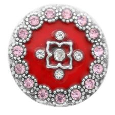 Snap In Button Charm Fits Ginger Snaps Style Jewelry Rhinestones Red Pink 144
