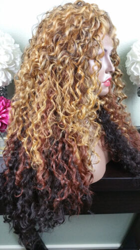 Soft Curly 1B/Blonde Mix/Brn Nape Lace Front Wig Long Layers Heat Safe